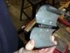 View of hinge installed, pressure head tool opened